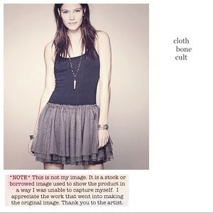 FREE PEOPLE 🌼 Gray & Blk Layered Tulle SLIP DRESS